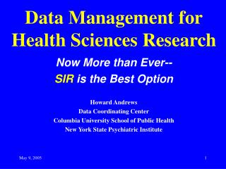 Data Management for Health Sciences Research