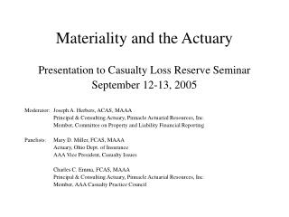 Materiality and the Actuary