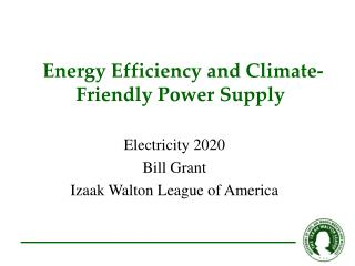 Energy Efficiency and Climate- Friendly Power Supply