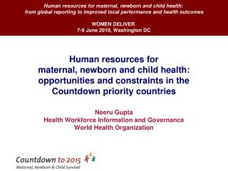 Human resources for maternal, newborn and child health: