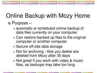 Online Backup with Mozy Home