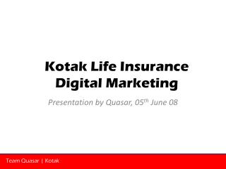 Presentation by Quasar, 05 th  June 08