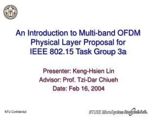 An Introduction to Multi-band OFDM Physical Layer Proposal for  IEEE 802.15 Task Group 3a