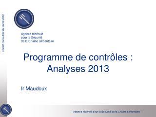 Programme de contrôles : Analyses 2013