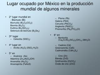 Lugar ocupado por México en la producción mundial de algunos minerales