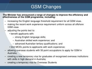 GSM Changes