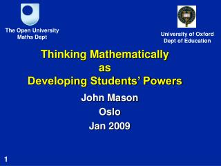 Thinking Mathematically as  Developing Students  Powers