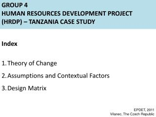 Group 4 Human Resources Development Project (HRDP) –  Tanzania Case Study