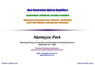 Namkyoo Park Nanoscale Energy Conversion and Information Processing Devices