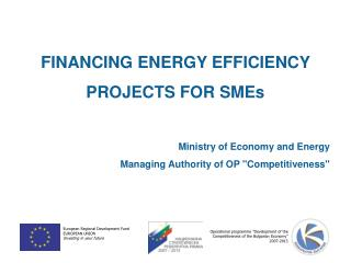 FINANCING ENERGY EFFICIENCY PROJECTS FOR SMEs  Ministry of Economy and Energy