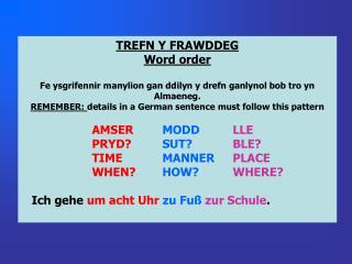 TREFN Y FRAWDDEG Word order