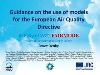 Guidance on the use of models for the European Air Quality Directive