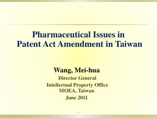 Wang, Mei-hua Director General  Intellectual Property Office MOEA, Taiwan June 2011