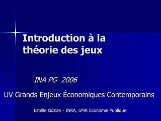 Introduction   la th orie des jeux