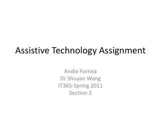 Assistive Technology Assignment