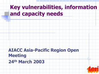 Key vulnerabilities, information  and capacity needs
