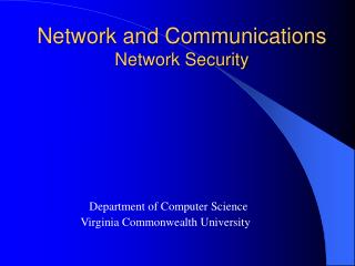 Network and Communications Network Security