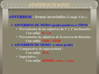 ADVERBIOS DE MODO