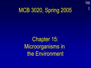 MCB 3020, Spring 2005 Chapter 15: Microorganisms in  the Environment