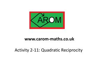 Activity 2-11: Quadratic Reciprocity