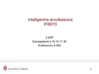 Intelligentne arvutikasutus IFI6070