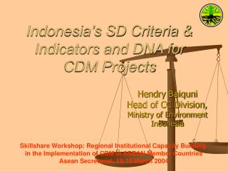 Indonesia's SD Criteria & Indicators and DNA for CDM Projects