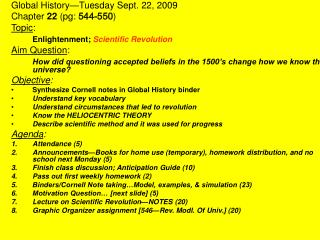 Global History—Tuesday Sept. 22, 2009 Chapter  22  (pg:  544-550 ) Topic :