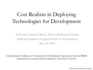 Cost Realism in Deploying Technologies for Development