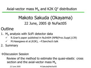 Axial-vector mass M A  and K2K Q 2  distribution