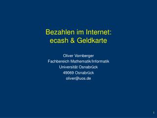 Bezahlen im Internet: ecash & Geldkarte
