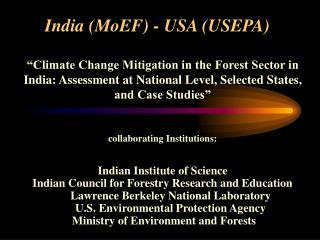 India (MoEF) - USA (USEPA)
