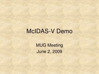 McIDAS-V Demo