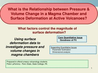 Using surface deformation data to investigate pressure and volume changes in magma chambers