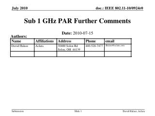Sub 1 GHz PAR  Further Comments