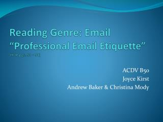 "Reading Genre: Email ""Professional Email Etiquette""  (HOP pgs. 91 – 94)"