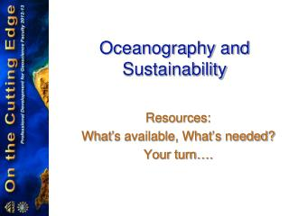 Oceanography and Sustainability