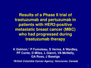 Results of a Phase II trial of trastuzumab and pertuzumab in patients with HER2-positive  metastatic breast cancer MBC