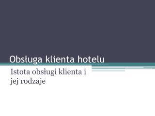 Obs ługa klienta hotelu