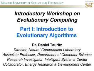 Introductory Workshop on Evolutionary Computing