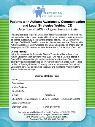 Patients with Autism: Awareness, Communication and Legal Strategies Webinar CD