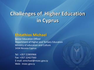 Challenges of  Higher Education in Cyprus