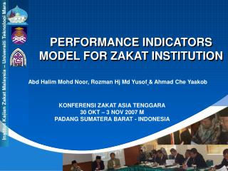 PERFORMANCE INDICATORS MODEL FOR ZAKAT INSTITUTION