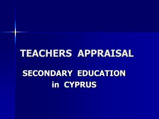 TEACHERS  APPRAISAL