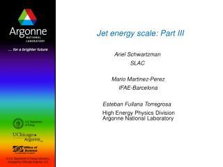 Jet energy scale: Part III
