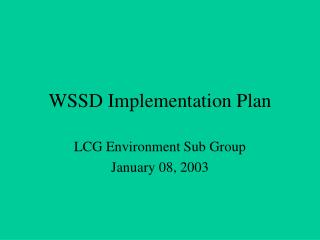 WSSD Implementation Plan