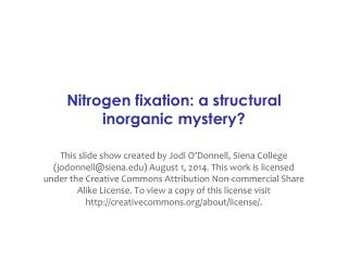 Nitrogen fixation:  a  structural inorganic mystery?