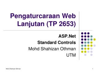 Pengaturcaraan Web Lanjutan (TP 2653)