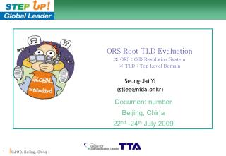 ORS Root TLD Evaluation ? ORS : OID Resolution System ? TLD : Top Level Domain