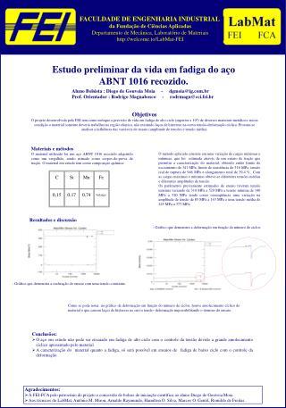 Estudo preliminar da vida em fadiga do a�o ABNT 1016 recozido.