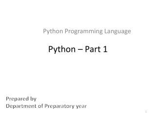 Python � Part 1